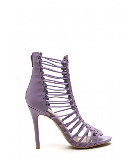 Incaltaminte Femei CheapChic Burning Up Strappy Laser-cut Heels Lavender