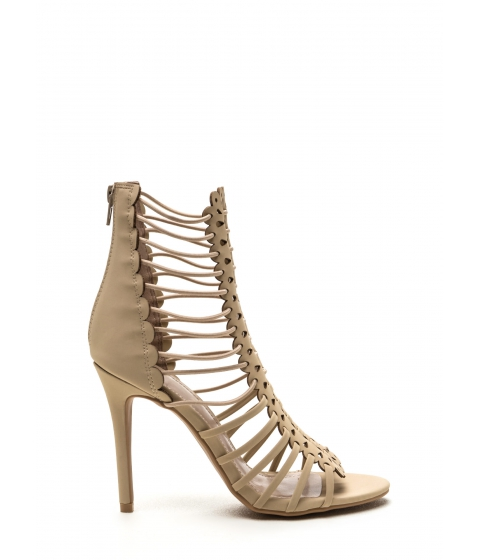 Incaltaminte Femei CheapChic Burning Up Strappy Laser-cut Heels Nude