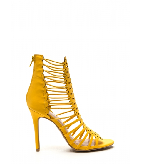 Incaltaminte Femei CheapChic Burning Up Strappy Laser-cut Heels Yellow