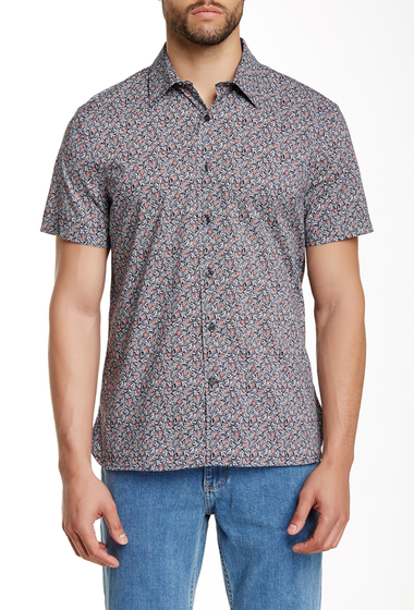 Imbracaminte Barbati Perry Ellis Short Sleeve Floral Print Shirt ECLIPSE