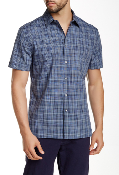 Imbracaminte Barbati Perry Ellis Plaid Space Dye Shirt ECLIPSE