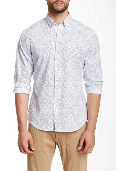 Imbracaminte Barbati Perry Ellis Long Sleeve Geo Print Shirt BRIGHT WHITE