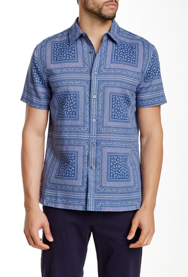 Imbracaminte Barbati Perry Ellis Short Sleeve Paisley Square Shirt TRUE NAVY