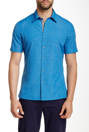 Imbracaminte Barbati Perry Ellis Short Sleeve Button Shirt SNORKEL BLUE