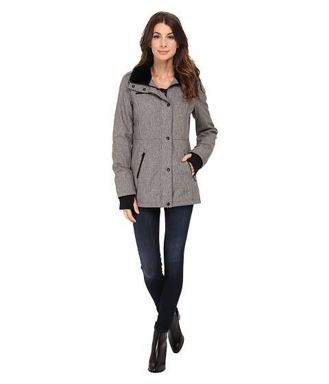 Imbracaminte Femei Jessica Simpson Zip Front Soft Shell with Faux Fur Heather Grey