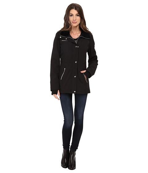 Imbracaminte Femei Jessica Simpson Zip Front Soft Shell with Faux Fur Black