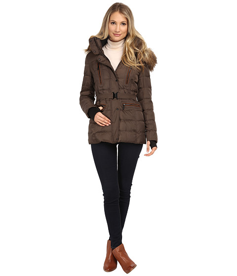 Imbracaminte Femei Vince Camuto Belted Down with Faux Fur Trim J8581 Bark
