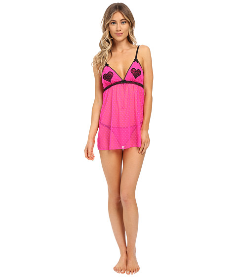 Imbracaminte Femei Betsey Johnson Heart Pasty Mesh Babydoll Cosmo Pink