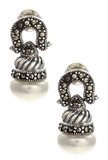 Bijuterii Femei Savvy Cie Swiss Marcasite 10-11mm Freshwater Pearl Swirl Drop Earrings WHITE-BLACK