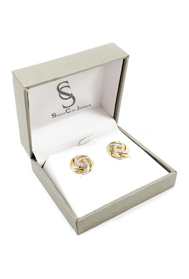Bijuterii Femei Savvy Cie Two-Tone Large Knot Diamond Stud Earrings - 005 ctw YELLOW-WHITESILVER