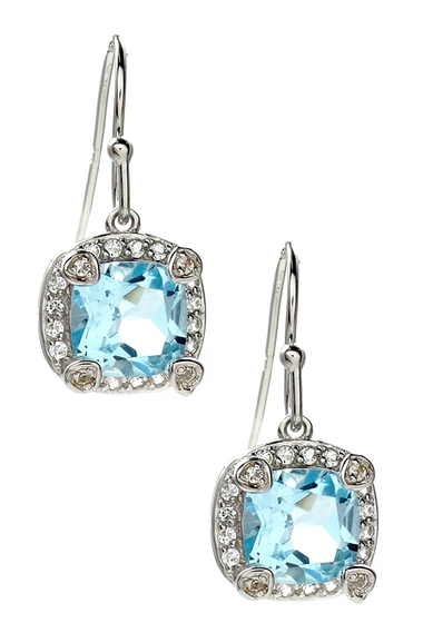 Bijuterii Femei Savvy Cie White London Blue Topaz Cushion Drop Earrings SILVER-BLUE-WHITE