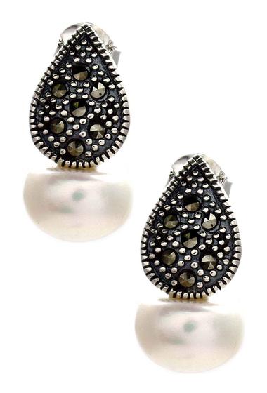 Bijuterii Femei Savvy Cie Swiss Marcasite 10-11mm Freshwater Pearl Leaf Earrings WHITE-BLACK