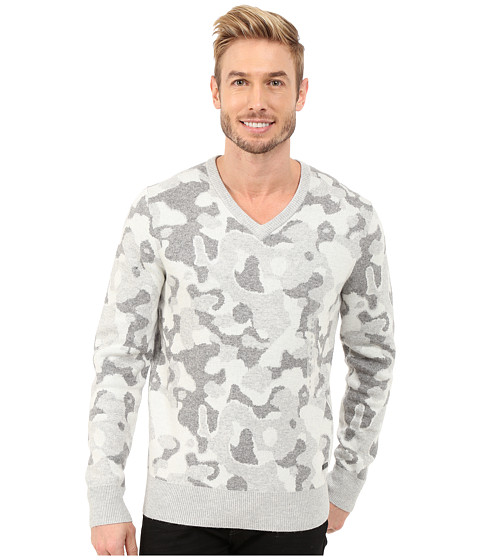 Imbracaminte Barbati DKNY Long Sleeve Camo Jacquard V-Neck Sweater Light Heather Grey