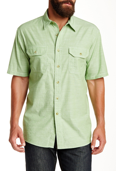 Imbracaminte Barbati Pendleton Short Sleeve Warren Chambray Regular Fit Shirt GREEN