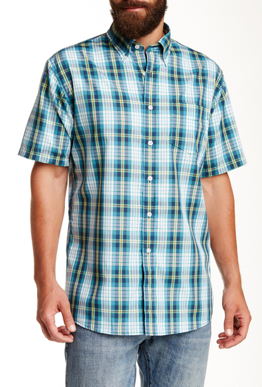Imbracaminte Barbati Pendleton Fremont Trim Fit Plaid Short Sleeve Sport Shirt BLUENAVY
