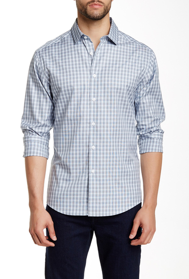 Imbracaminte Barbati Vince Camuto Printed Long Sleeve Regular Fit Shirt BLACK-BLUE-WHITE STRIPE PLAID