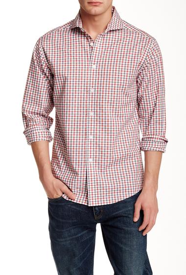 Imbracaminte Barbati Vince Camuto Spread Collar Slim Fit Sport Shirt RED-GRAY DOBBY CHECK