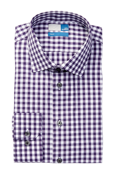 Imbracaminte Barbati 14th Union Spread Collar Trim Fit Dress Shirt PURPLE VINE