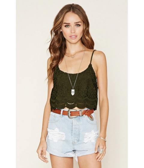 Imbracaminte Femei Forever21 Crochet Cami Crop Top Olive