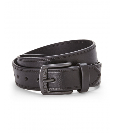 Accesorii Barbati Levi's Logo Buckle Bonded Leather Belt Black