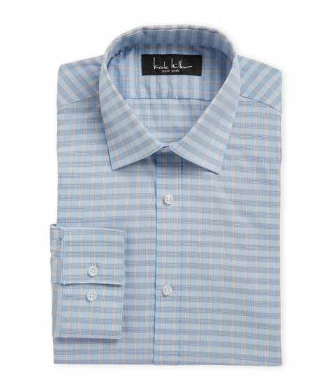 Imbracaminte Barbati Nicole Miller Light Blue Plaid Slim Fit Dress Shirt 450lightblue