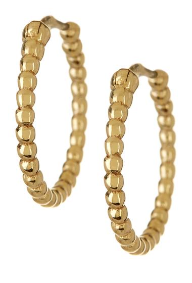 Bijuterii Femei Bony Levy 14K Yellow Gold Beaded Hoop Earrings 14K YELLOW
