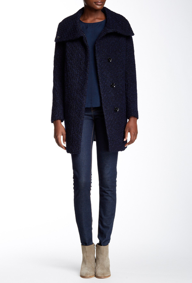 Imbracaminte Femei Cole Haan Wool Blend Boucle Coat BLK-NAVY