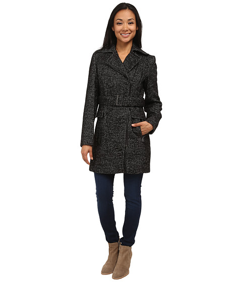 Imbracaminte Femei Calvin Klein Wool Belted Coat w Asymmetrical Zipper BlackWhite