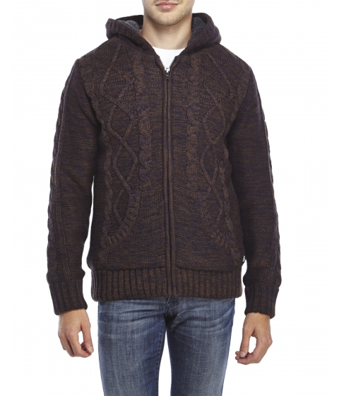 Imbracaminte Barbati American Stitch Marled Knit Cable Knit Zip Front Sweater Brown Navy
