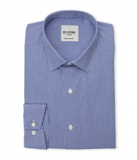 Imbracaminte Barbati Ben Sherman Blue White Mini Gingham Tailored Slim Fit Dress Shirt Blue