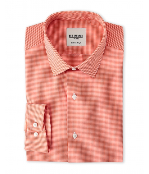 Imbracaminte Barbati Ben Sherman Tailored Slim Fit Check Dress Shirt Orange