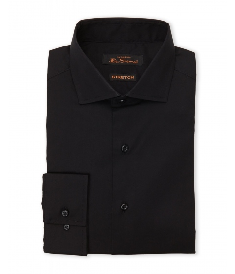 Imbracaminte Barbati Ben Sherman Black Poplin Stretch Dress Shirt Black