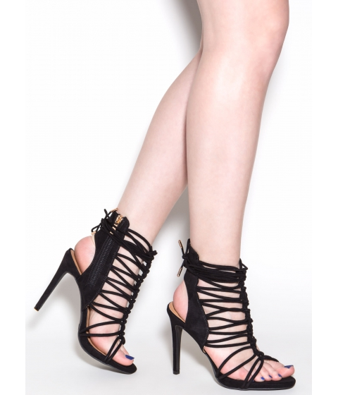 Incaltaminte Femei CheapChic Knotty Feelings Faux Suede Caged Heels Black