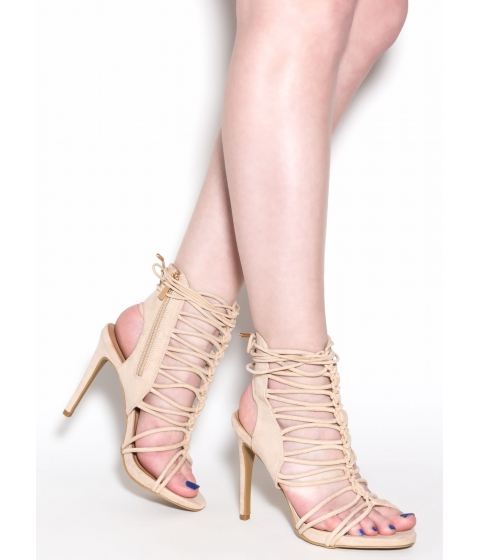 Incaltaminte Femei CheapChic Knotty Feelings Faux Suede Caged Heels Nude