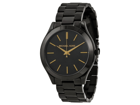 Ceasuri Femei Michael Kors Slim Runway Black Dial Black Ion-plated Unisex Watch Black