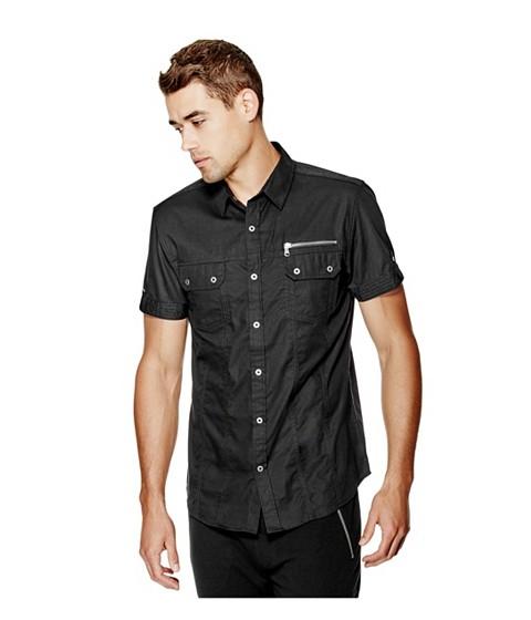 Imbracaminte Barbati GUESS Penton Short-Sleeve Poplin Shirt jet black
