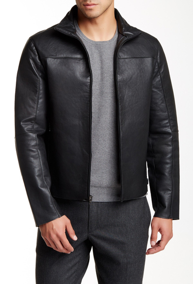 Imbracaminte Barbati Kenneth Cole New York Paneled Genuine Leather Moto Jacket Black