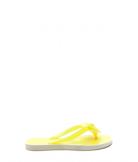 Incaltaminte Femei CheapChic Florals On Deck Jelly Thong Sandals Yellow