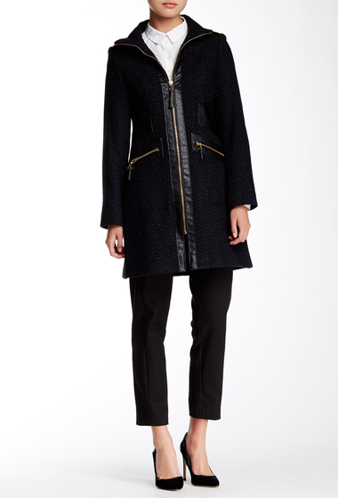 Imbracaminte Femei Via Spiga Faux Leather Trim Tassel Zip Coat BLK-NAVY