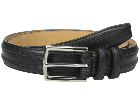 Accesorii Barbati Cole Haan 30mm Feather Edge Stitched Strap with Perforation and Overlay Detail Black