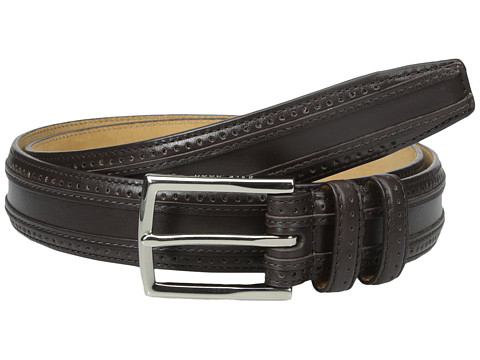 Accesorii Barbati Cole Haan 30mm Feather Edge Stitched Strap with Perforation and Overlay Detail Dark Brown