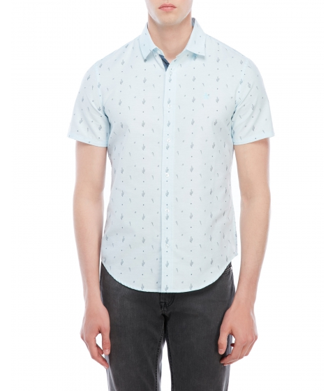 Imbracaminte Barbati Original Penguin Slim Fit Cactus Print Oxford Shirt Crystal Blue