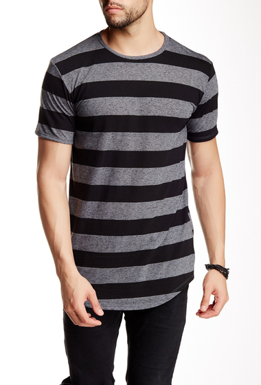 Imbracaminte Barbati Drifter Striped Crew Neck Shirttail Tee BLK-CHARCOAL STRIPE
