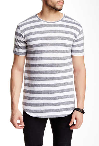 Imbracaminte Barbati Drifter Crew Neck Mixed Media Shirttail Tee HEATHER GREY-WHT STRIPE