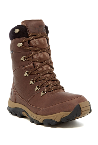 Incaltaminte Barbati The North Face Chilkat Leather Insulated Tall Boot DEMITASSE BROWN-CUB BROWN