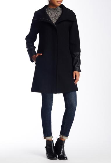 Imbracaminte Femei Soia Kyo Leather Cuff Textured Wool Blend Coat BLACK