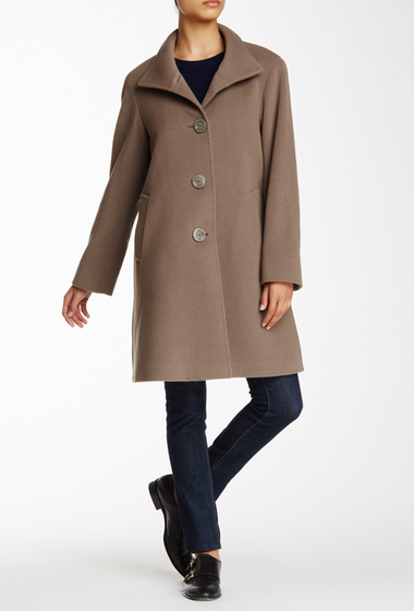 Imbracaminte Femei Cinzia Rocca Wool Blend Stand-Up Collar Coat TAUPE