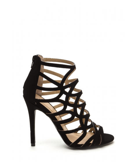 Incaltaminte Femei CheapChic Ahead Of The Curves Cut-out Caged Heels Black