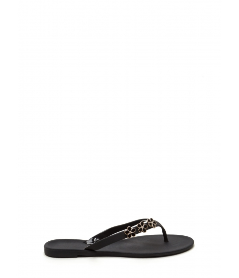 Incaltaminte Femei CheapChic Perfect Petal Trio Jelly Thong Sandals Black