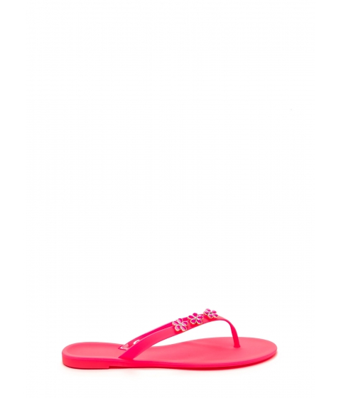 Incaltaminte Femei CheapChic Perfect Petal Trio Jelly Thong Sandals Neonpink